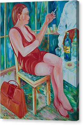 Canvas Print featuring the painting Lady At Lunch by Giovanni Caputo