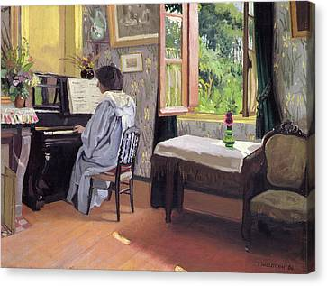 Lady At The Piano Canvas Print by Felix Edouard Vallotton