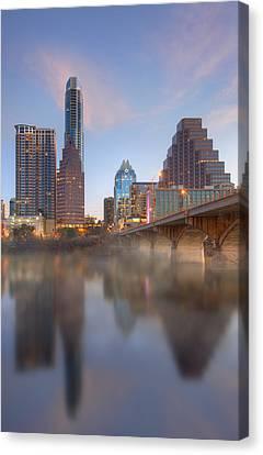 Frost Tower Canvas Print - Lady Bird Lake Fog And The Austin Skyline 1 by Rob Greebon