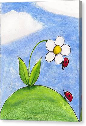 Spring Flowers Canvas Print - Lady Bug Love by Christy Beckwith