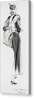 Lady Castlerosse Wearing Molyneux Canvas Print by Ren? Bou?t-Willaumez