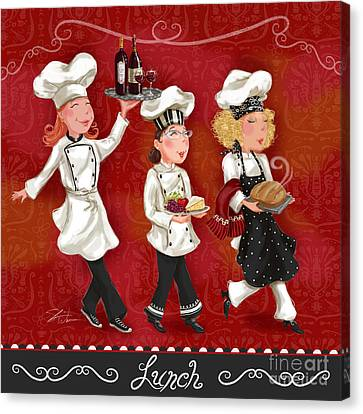 Lady Chefs - Lunch Canvas Print by Shari Warren