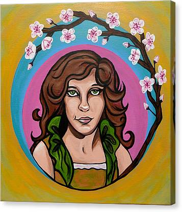 Canvas Print featuring the painting Lady Cherry Blossom by Sarah Crumpler
