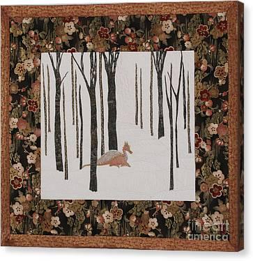 Lady Dragon Stroll Through A Snowy Forest Canvas Print