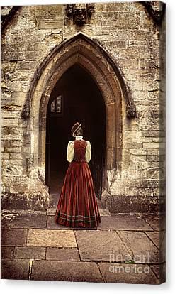 Medieval Entrance Canvas Print - Lady Entering An Old Church by Jill Battaglia