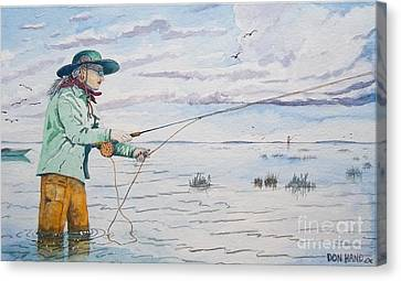 Lady Fly Fishing Canvas Print by Don Hand