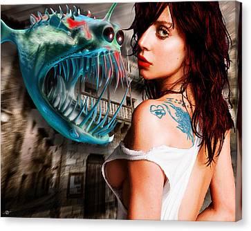 Lady Gaga And Angler Fish Canvas Print by Tony Rubino