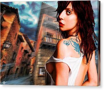 Lady Gaga And Street Blue Sky Canvas Print by Tony Rubino