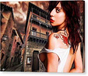 Lady Gaga And Street Dark Sky Canvas Print by Tony Rubino