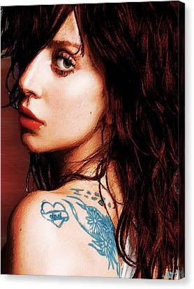 Lady Gaga Blue Tattoo Close Up Canvas Print by Tony Rubino