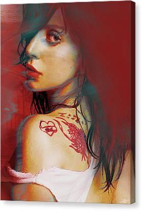 Lady Gaga Impressionist Canvas Print by Tony Rubino