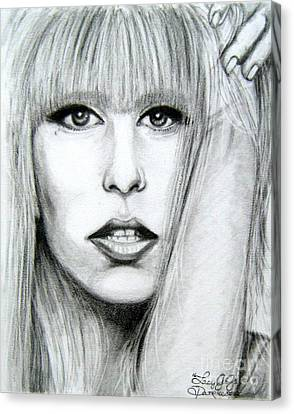 Canvas Print featuring the drawing Lady Gaga by Patrice Torrillo