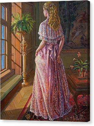 Lady Gazing Through The Window Canvas Print by Dominique Amendola