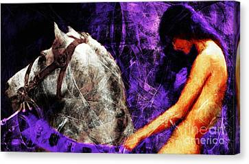 Lady Godiva Revisited 20140315v2c3 Horizontal Long Canvas Print by Wingsdomain Art and Photography