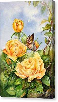 Canvas Print featuring the painting Lady Hillington Tea Rose by Patricia Schneider Mitchell