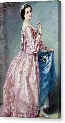 Lady Holding Flowers In Her Petticoat Canvas Print