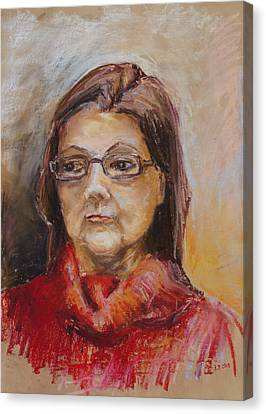 Lady In A Red Pullover Canvas Print by Barbara Pommerenke