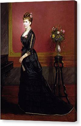 Lady In Black Canvas Print by Edouard Ender