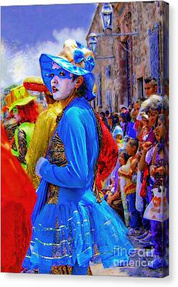 Lady In Blue Canvas Print by John  Kolenberg