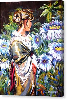 Lady In Garden Canvas Print by Jyoti Vats