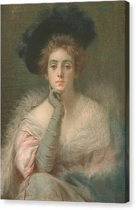 Decolletage Canvas Print - Lady In Pink by Joseph W Gies