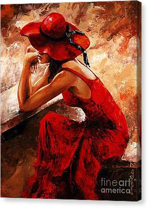 Lady In Red 21 Canvas Print by Emerico Imre Toth