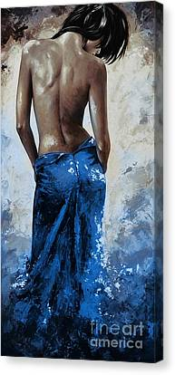 Lady In Red 27re Blue Color Version Large Canvas Print by Emerico Imre Toth