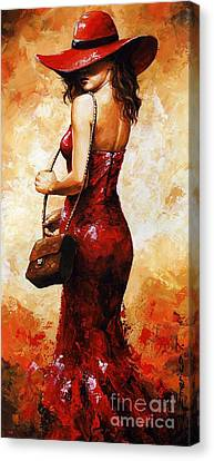 Lady In Red  30 Canvas Print by Emerico Imre Toth