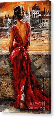 Impressionism Canvas Print - Lady In Red  34 -  I Love Budapest by Emerico Imre Toth