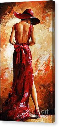 Lady In Red  39 Canvas Print by Emerico Imre Toth