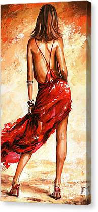 Lady In Red 40 Canvas Print by Emerico Imre Toth