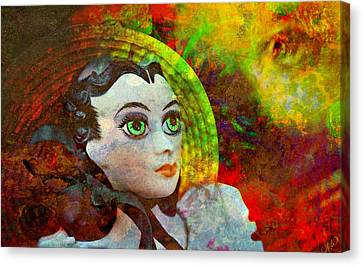 Canvas Print featuring the mixed media Lady In Red by Ally  White
