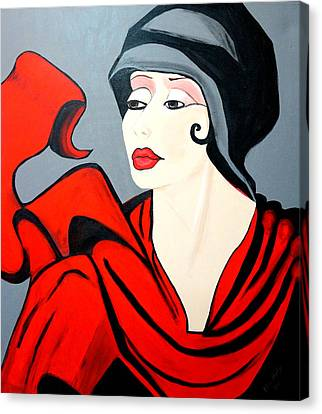 Lady In Red  Art Deco Canvas Print