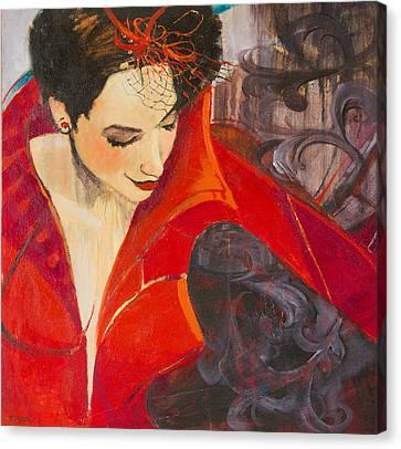 Lady In Red Canvas Print by Jennifer Croom