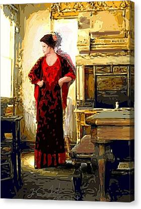 Digital Free Style Canvas Print - Lady In Red Prints Posters by Larry Lamb