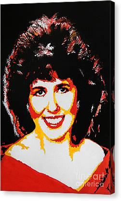 Lady In Red Canvas Print by Ryszard Sleczka