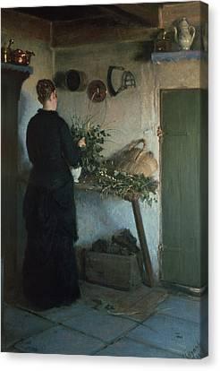 Lady In The Kitchen Canvas Print by Viggo Johansen