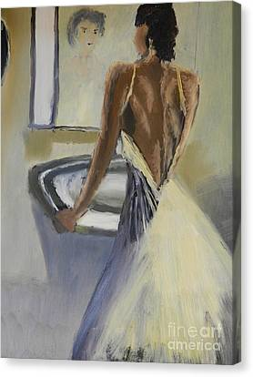 Canvas Print featuring the painting Lady In The Mirror by Pamela  Meredith