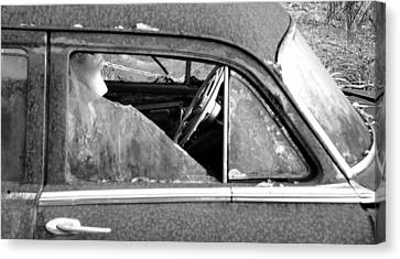 Lady In The Old Dodge Canvas Print by David Lee Thompson