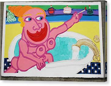 Lady In The Tub Canvas Print by Matthew Brzostoski