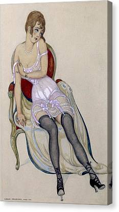 Lady In Underwear, 1917 Canvas Print by Gerda Marie Frederike Wegener
