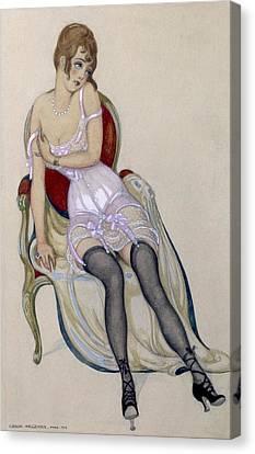 Lady In Underwear, 1917 Canvas Print by Gerda Marie Frederike Wegener