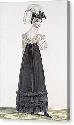Women. Eighteenth Century Canvas Print - Lady In Velvet Morning Dress by Antoine Charles Horace Vernet