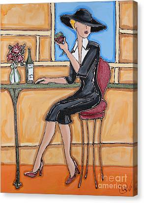 Lady In Waiting With Wine Canvas Print