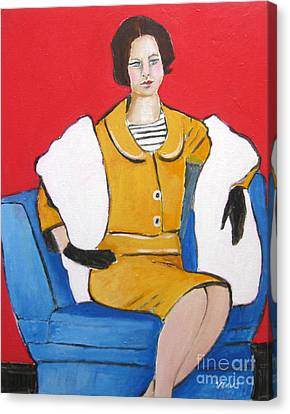 Lady In Yellow Canvas Print by Venus