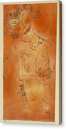 Lady Inclining Her Head Canvas Print by Paul Klee