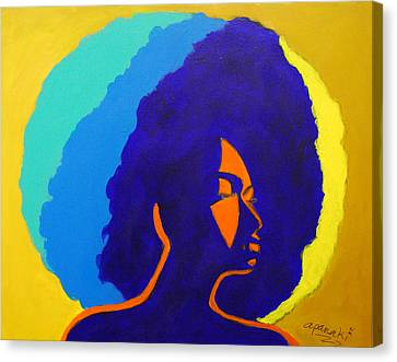 Canvas Print featuring the painting Lady Indigo by Apanaki Temitayo M