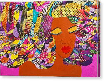 Canvas Print featuring the tapestry - textile Lady J by Apanaki Temitayo M