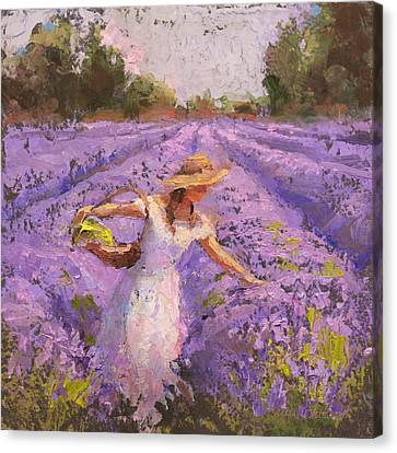 Picking Canvas Print - Woman Picking Lavender In A Field In A White Dress - Lady Lavender - Plein Air Painting by Karen Whitworth