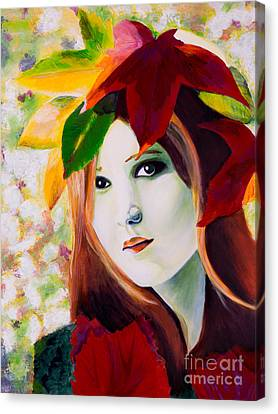 Canvas Print featuring the painting Lady Leaf by Denise Deiloh